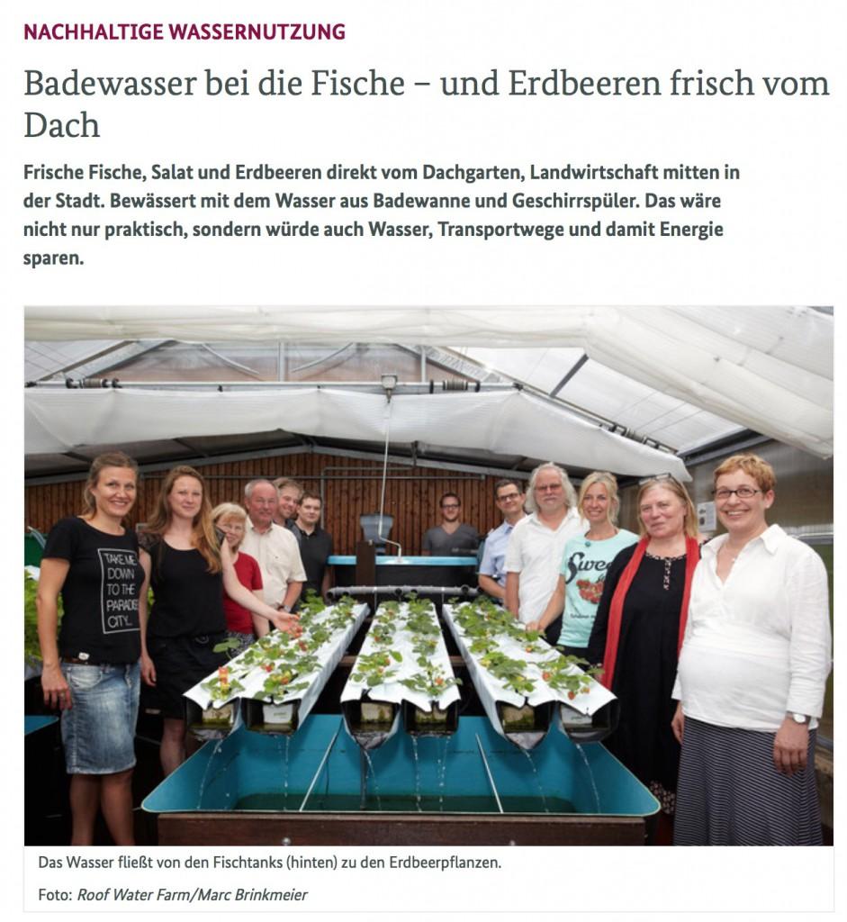 RWF-Pressespiegel: Artikel im Newsletter der Bundesregierung vom 16.3.2015: Badewasser bei die Fische und Erdbeeren frisch vom Dach. Autorin: Jessica von Schrenck