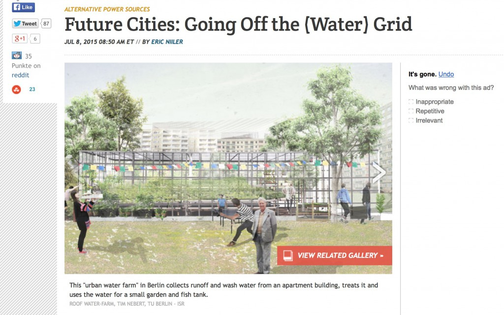 RWF-Pressespiegel Beitrag vom 08.07.2015: ,,Future Cities: Going off the Water Grid