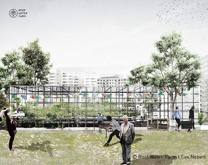 Visualisierung eines Dachgewächshauses, Gebäudetypologie Wohnbau, Beispielstandort Marzahn-Hellersdorf. Grafik: Tim Nebert
