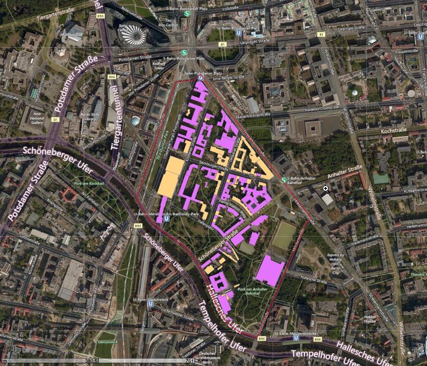 Untersuchungsgebiet Innenstadt, Potsdamer Platz Berlin Quelle: Screenshot des RWF-Arbeitsmodells, Kartographieverbund TU Berlin, http://kartographie.planen-bauen-umwelt.tu-berlin.de, Zugriff am 16.03.2016