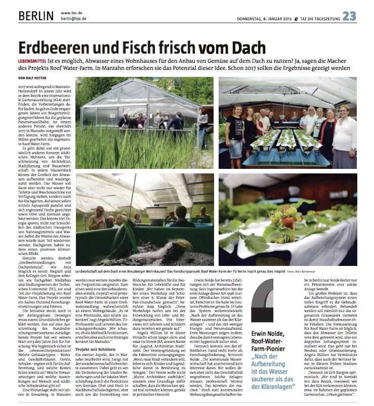 RWF-Pressespiegel: Die Tageszeitung, taz, 08.01.2015, Erdbeeren und Fisch frisch vom Dach, Autor: Ralf Hutter