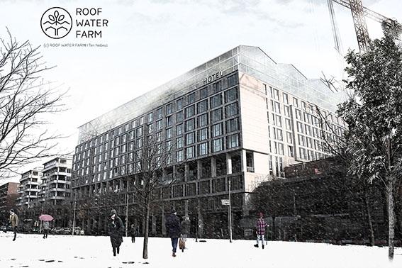 Visualisierung eines Dachgewächshauses auf einem Hotel im Innenstadtbereich, Scandic-Hotel, Berlin Potsdamer Platz, kommerzieller Gastronomiebereich oder Event- und Aufenthaltsraum (c) Roof Water Farm