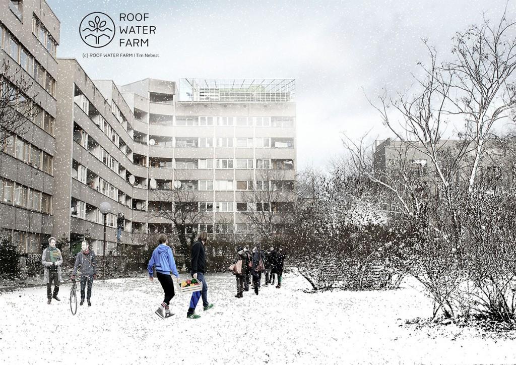 Visualisierung eines Dachgewächshauses auf einem Studentenwohnheim im Innenstadtbereich, Hafenplatz, Berlin-Kreuzberg, kommerzieller Gastronomiebereich oder Event- und Aufenthaltsraum (c) Roof Water Farm