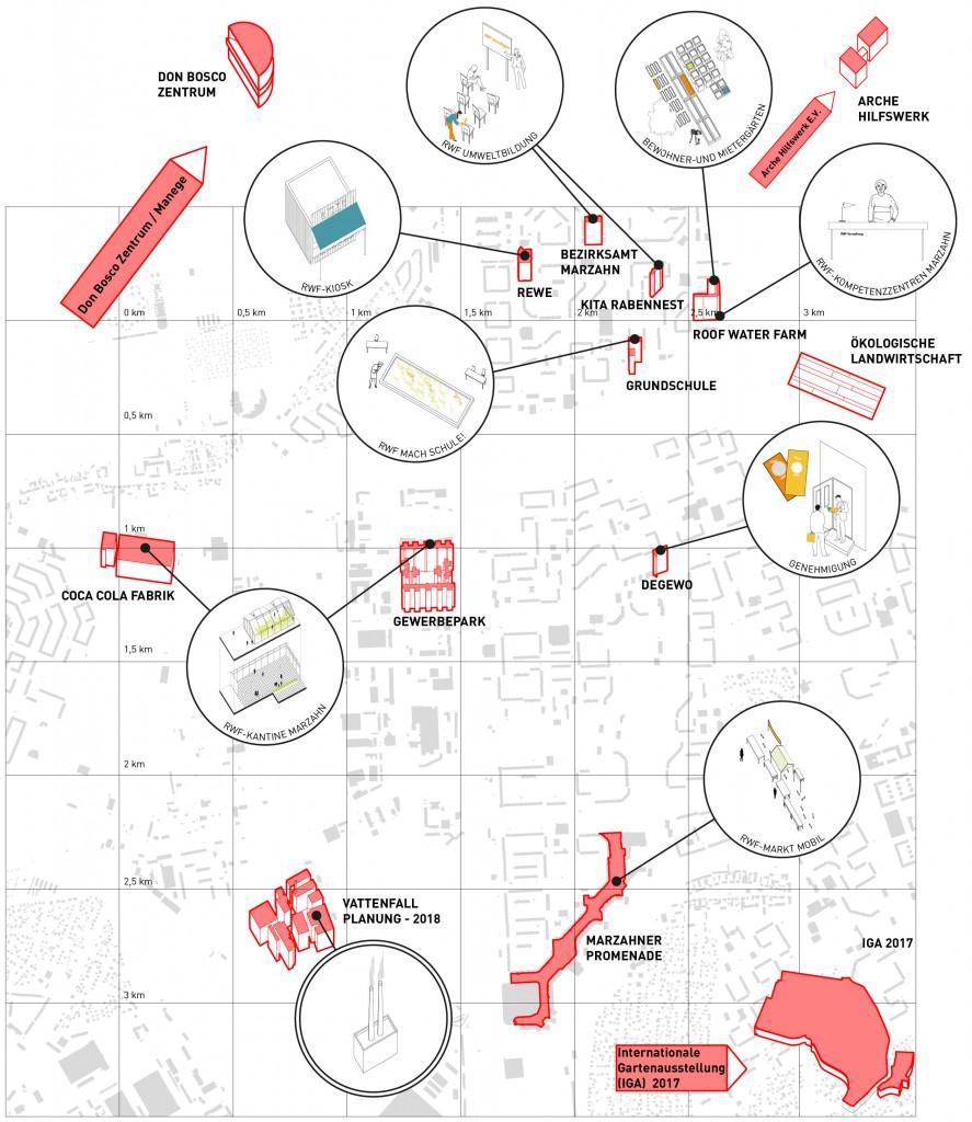 Netzwerkplan für das Untersuchungsgebiet Marzahn-Hellersdorf, per Klick auf das Bild wird die Akteurslandschaft vergrößert, Werkzeuge und Strategien sind in der Textleiste erläutert. Grafik: Tim Nebert, Datengrundlage: http://www.stadtentwicklung.berlin.de/planen/stadtmodelle/de/digitale_innenstadt/2d/download/index.shtml. Letzter Zugriff: 16.07.2017
