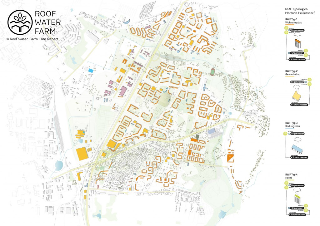 Visualisierung der RWF-Gebäudetypologien im Untersuchungsgebiet Marzahn-Hellersdorf, (c) RWF. Je nach Baustruktur, Nutzung und Ressourcenquelle (Regenwasser, Grauwasser, Schwarzwasser) lassen sich die verschiedenen RWF-Varianten I - IV zuordnen. Grafik: Tim Nebert, Datengrundlage: http://www.stadtentwicklung.berlin.de/planen/stadtmodelle/de/digitale_innenstadt/2d/download/index.shtml. Letzter Zugriff: 16.07.2017