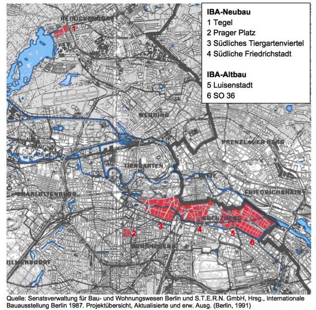 Standorte der IBA `87: Quelle: http://www.stadtentwicklung.berlin.de/staedtebau/baukultur/iba/download/IBA87_Endbericht _Karte.pdf, Seite 6, Zugriff am 27.01.2016