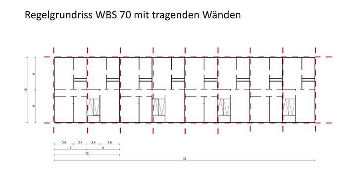 Baukonstruktive Einschätzung WBS70, Regelgrundriss mit tragenden Wänden. Grafik: Architekturbüro Freiwald