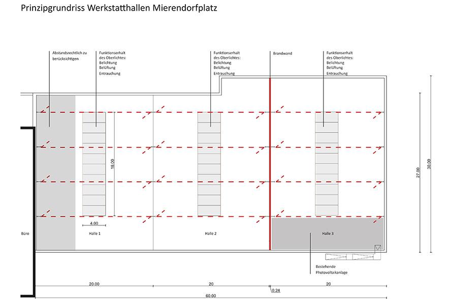 Baukonstruktive Einschätzung Gebäudeteil Werkstatthalle, Prinzipgrundriss mit tragenden Wänden. (c) ROOF WATER-FARM, Grafik: Architekturbüro Freiwald