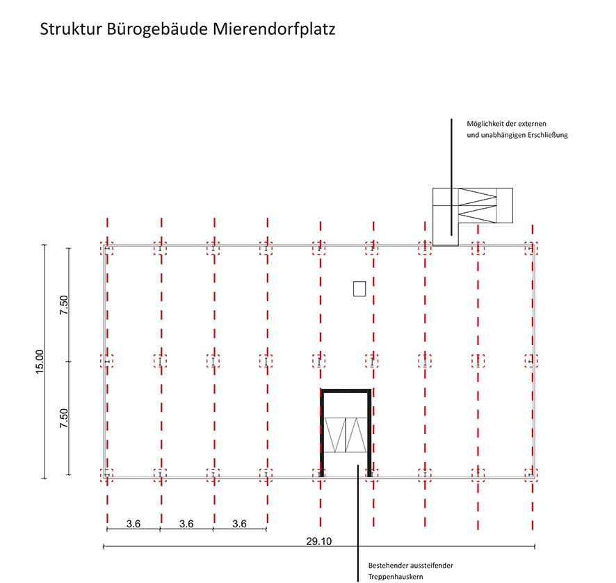 Baukonstruktive Einschätzung Gebäudeteil Bürogebäude, Prinzipgrundriss mit tragenden Wänden. (c) ROOF WATER-FARM, Grafik: Architekturbüro Freiwald