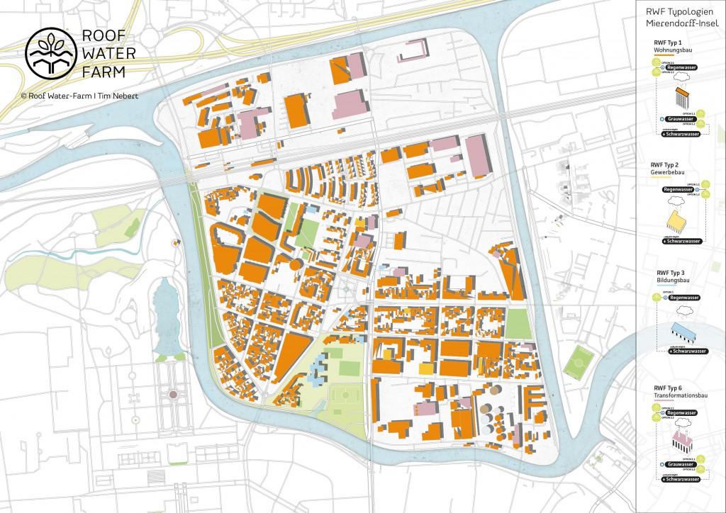 Visualisierung der RWF-Gebäudetypologien im Untersuchungsgebiet Insellage, Mierendorffinsel (c) RWF. Je nach Baustruktur, Nutzung und Ressourcenquelle (Regenwasser, Grauwasser, Schwarzwasser) lassen sich die verschiedenen RWF-Varianten I - IV zuordnen.