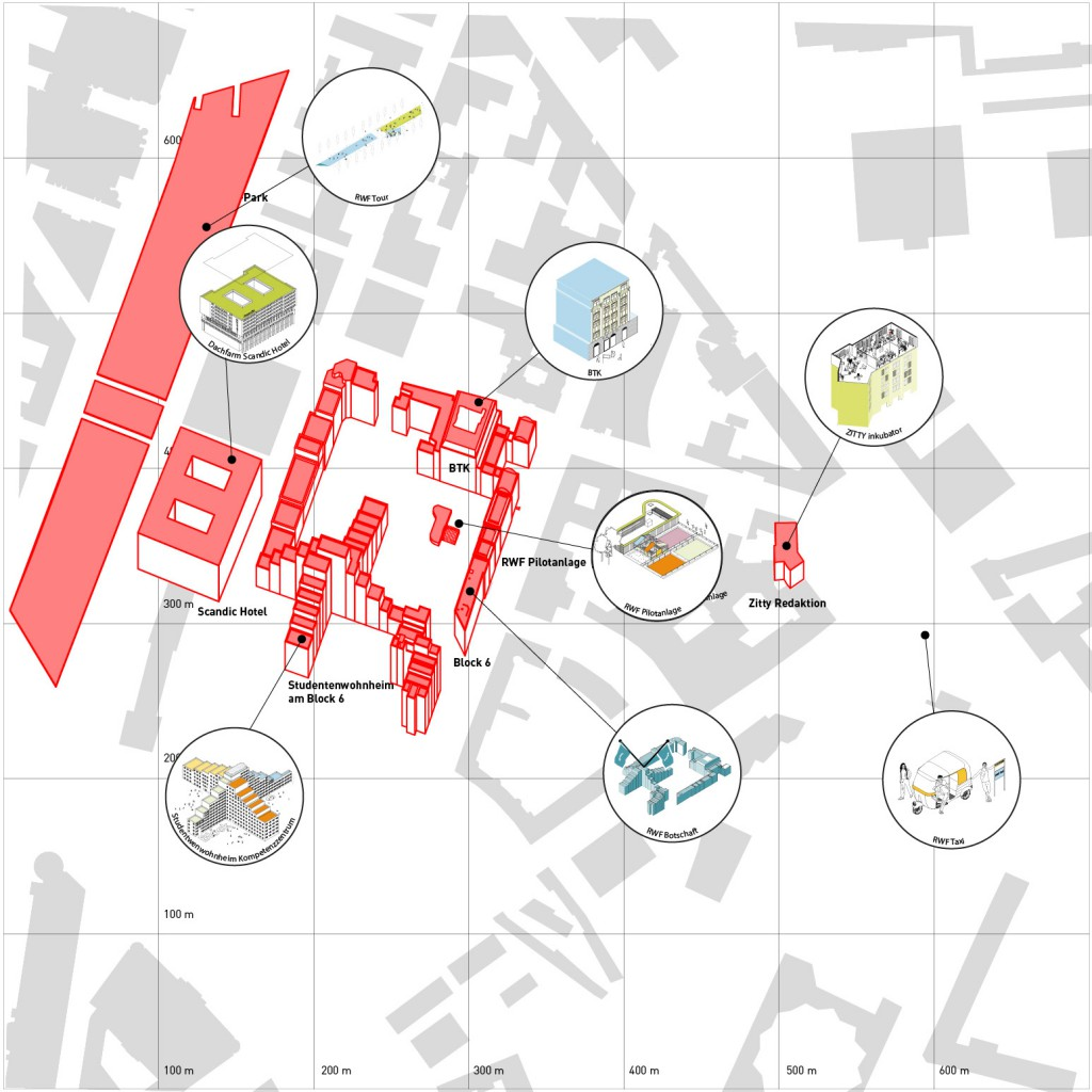 Netzwerkplan Modellgebiet Innenstadt / Potsdamer Platz (c) Roof Water Farm