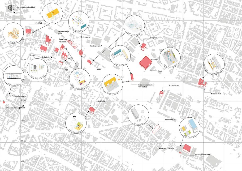 Netzwerkplan für das Modellgebiet Stadtspree, per Klick auf das Bild wird die Akteurslandschaft vergrößert, Werkzeuge und Strategien sind in der Textleiste erläutert (c) Roof Water Farm