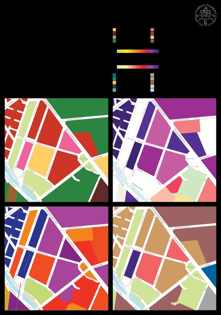 Baustrukturen im Untersuchungsgebiets. (c) ROOF WATER-FARM, Karte: Geoportal Berlin, FiS-Broker: http://fbinter.stadt-berlin.de/fb/index.jspSenatsverwaltung für Stadtentwicklung und Umwelt. Letzter Zugriff: 16.04.2015