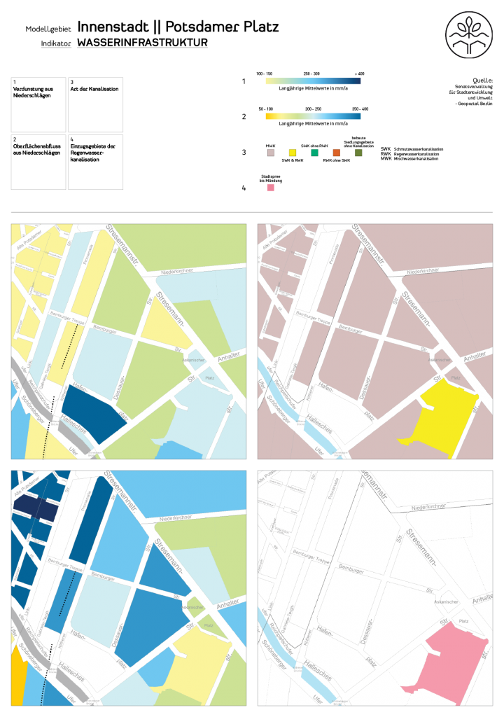 Wasserinfrastruktur im Untersuchungsgebiets (c) ROOF WATER-FARM, Karte: Geoportal Berlin, FiS-Broker: http://fbinter.stadt-berlin.de/fb/index.jspSenatsverwaltung für Stadtentwicklung und Umwelt. Letzter Zugriff: 16.04.2015