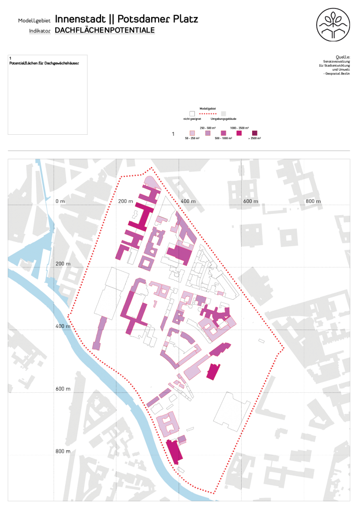 Dachflächenpotentiale im Untersuchungsgebiets (c) ROOF WATER-FARM, Grafik: Tim Nebert, Datengrundlage: http://www.stadtentwicklung.berlin.de/planen/stadtmodelle/de/digitale_innenstadt/2d/download/index.shtml. Letzter Zugriff: 16.07.2017