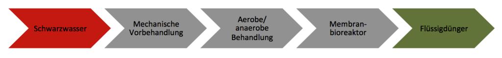 Prozessschema zur Schwarzwasseraufbereitungsanlage (SWAA). Grafik: Fraunhofer UMSICHT