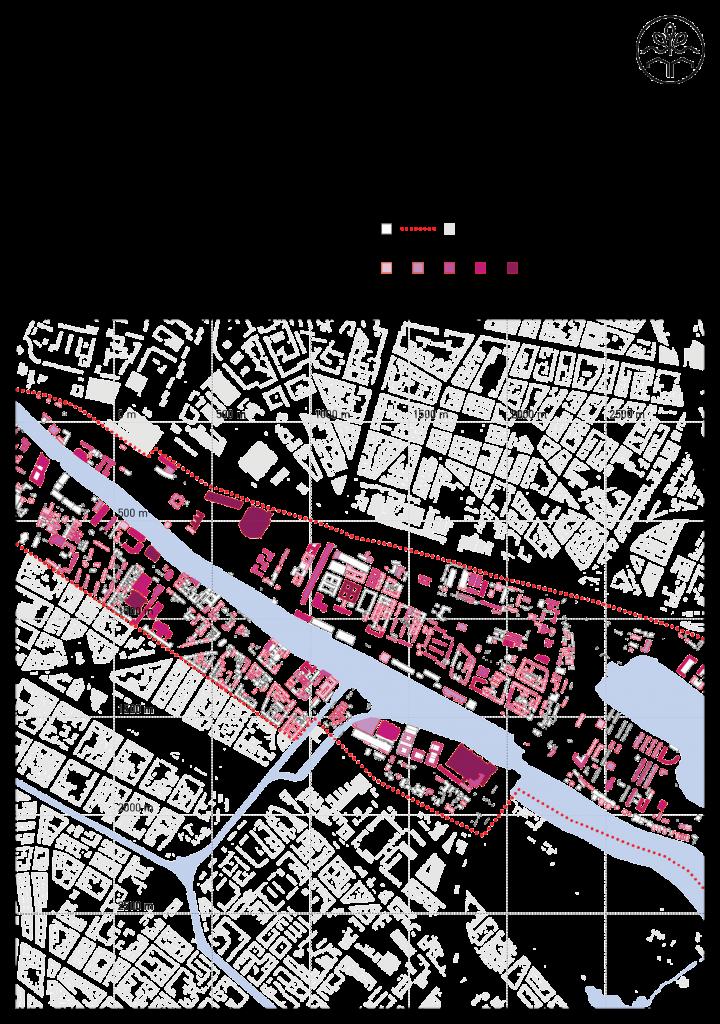 Dachflächenpotentiale im Untersuchungsgebiet. Grafik: Tim Nebert, Datengrundlage: http://www.stadtentwicklung.berlin.de/planen/stadtmodelle/de/digitale_innenstadt/2d/download/index.shtml. Letzter Zugriff: 16.07.2017