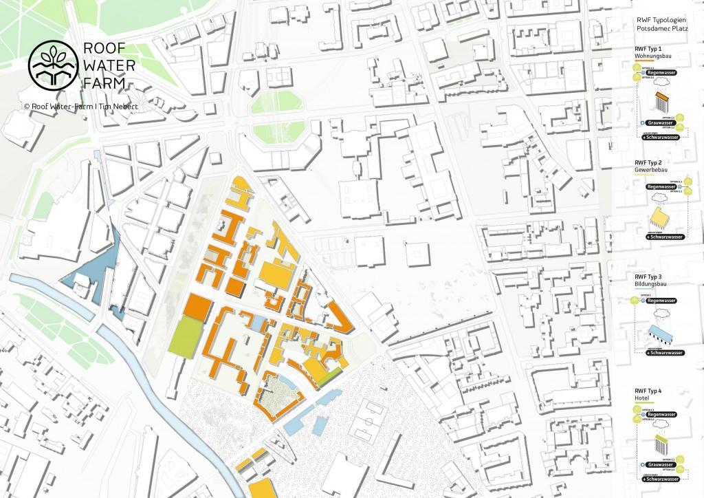 Visualisierung der RWF-Gebäudetypologien im Untersuchungsgebiet Innenstadt. Je nach Baustruktur, Nutzung und Ressourcenquelle (Regenwasser, Grauwasser, Schwarzwasser) lassen sich verschiedene technischen RWF-Varianten I - IV zuordnen. (c) ROOF WATER-FARM, Grafik: Tim Nebert, Datengrundlage: http://www.stadtentwicklung.berlin.de/planen/stadtmodelle/de/digitale_innenstadt/2d/download/index.shtml. Letzter Zugriff: 16.07.2017