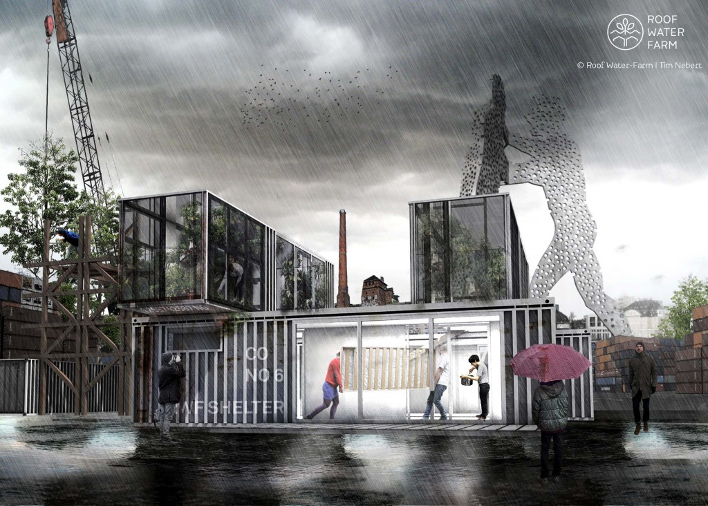 Visualisierung eines Transformationsbaus im Spreeraum, Gebäudetypologie Container, flexible und mobile Baustruktur zur Nutzung als Flüchtlingsunterkunft oder als