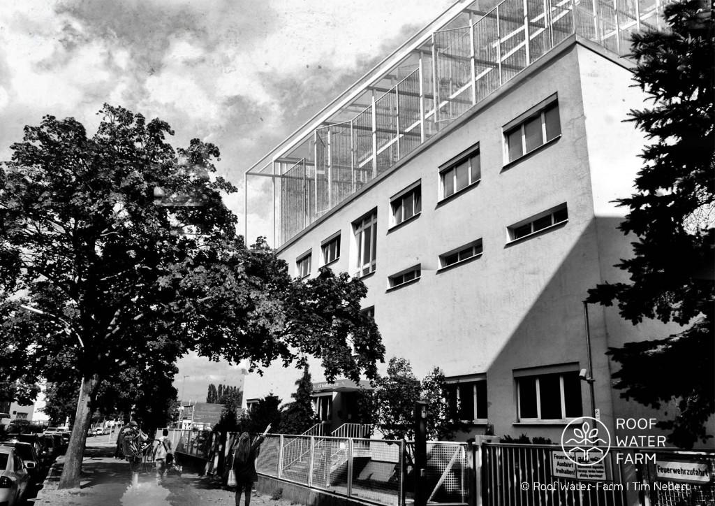 Visualisierung eines Dachgewächshauses im Berliner Mierendorff-Kiez, RWF-Kompetenzzentrum der Berliner Stadtreinigungsbetriebe (BSR): Nutzung als Gastronomie- und Kantinenbereich, als Aufenthaltsraum und Eventbereich. Grafik: Tim Nebert