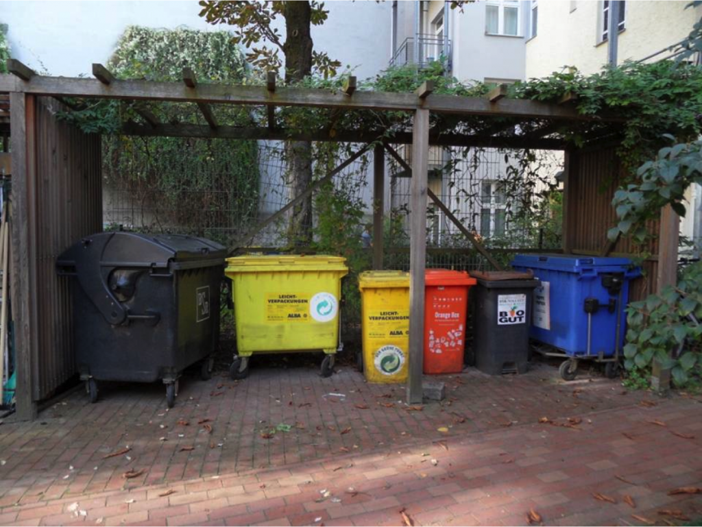 Häusliche Abfälle sind eine Ressource, die im Gebäude getrennt zu erfassen sind! Das kommunale Abfallaufkommen in Deutschland 2011 betrug 597 kg/P/a. In Deutschland, Österreich und Belgien wurden mehr als 50% der Haushaltsabfälle recycelt oder kompostiert. Foto: Erwin Nolde