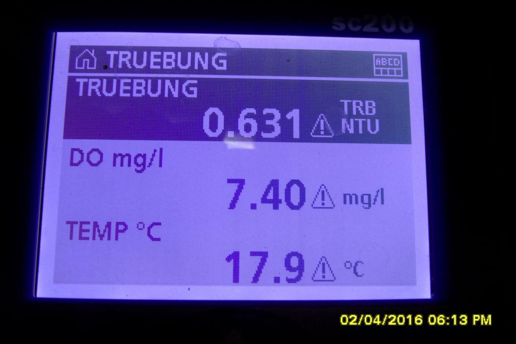 Online Überwachung: Trübung, Sauerstoff und Temperatur. Foto: Erwin Nolde